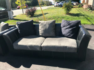 Sofa & Love Seat- Real Black Leather & Microsuede