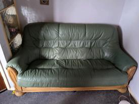 Sage green DFS leather sofa