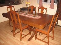 set cuisine antique,chaise,bois,antiquité,vintage,table,1930