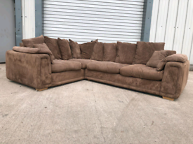 Dfs brown fabric Corner sofa couch suite 🚚🚚