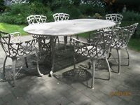 Hauser Cast Aluminum Patio Set with Serving Cart