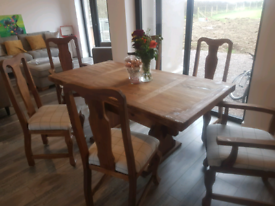 Solid Mexican Pine Table and 6 High Back Chairs