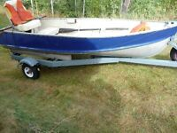12 ft aluminum boat, like new Honda 8 HP 4 stroke and trailer
