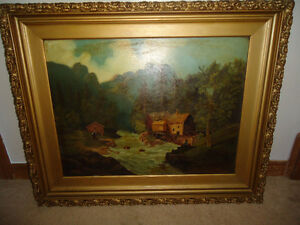 1893 ORIGINAL OIL PAINTING - RIVER WITH HOUSE SCENE $250 obo