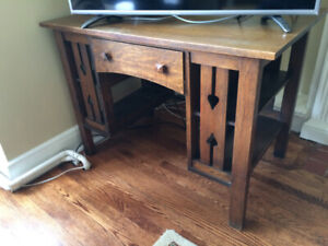 Antique Quarter-Sawn Mission Oak Library Desk