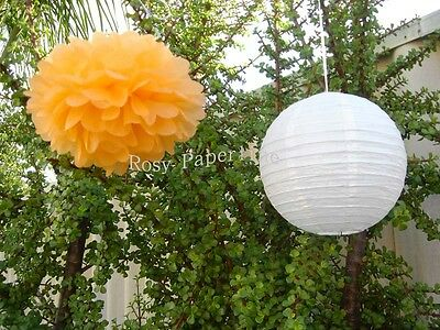 10x orange paper pom poms white lanterns wedding party baby shower decoration ()