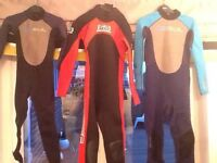 Wetsuits sizes JXS, small, and J2XL