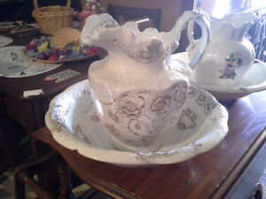 water pitcher and matching basin