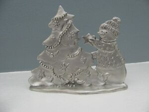 Seagull Pewter Snowman w/ Christmas Tree Statue