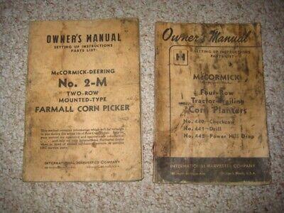 2 Vtge 1930s 40s Mccormick-deering Farmall Manualscorn Planter Picker 2-m