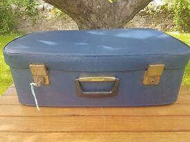 Vintage blue leatherette suitcase with Cheney clasps