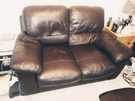 Leather 2 seater settee, chair & pouffee