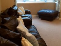 DFS brown leather couch, 2 chairs & puffet