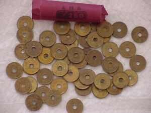 JAPAN ¥5 FIVE YEN COIN LOT - 50 JAPANESE ¥5 COINS - UNSEARCHED - ROLLED 50 TOTAL