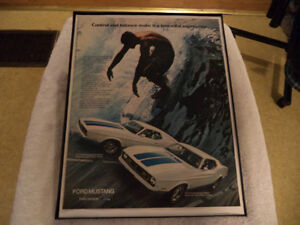 OLD FORD MUSTANG CLASSIC CAR FRAMED ADs man cave Windsor Region Ontario image 1