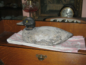 Antique Wood Hand Carved Duck Decoy for Sale