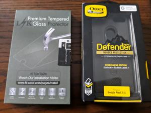 Pixel 3XL Otterbox Defender Case and screen protectors