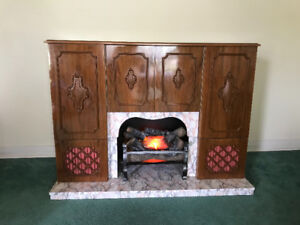 Vintage Koronette stereo and faux fireplace