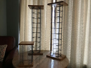 CD racks - wood and metal / wire