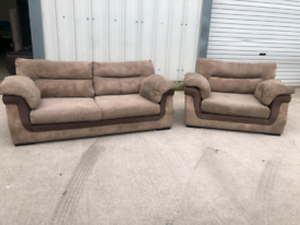 Brown fabric 3 + big Armchair sofas couches suite🚚🚚