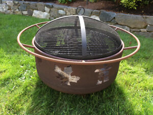 Fire Pit with Grill, Spark Screen and Rain Cover