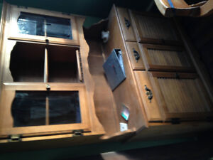 Antique Buffett and hitch cabinet maple