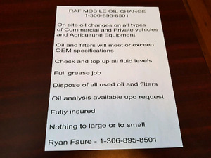 Mobile oil change around Maidstone and lloydminster area