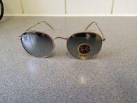 Ray Ban Round Metal Sunglasses RB3447 (gold frame/chrome lens)