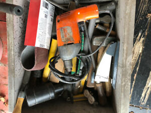 DRILL AND VARIOUS HAND TOOLS AND SAND PAPER $10.00