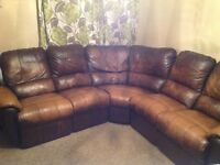 Brown leather corner recliner/sofa 6 seater