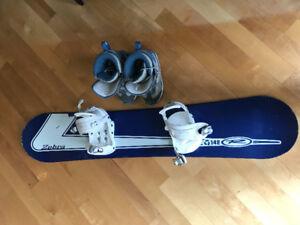Snowboard zebra 137 cm avec fixation Spice ey botte Kemper