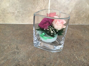 Real roses in glass