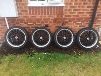 "4x100 wolfrace kendo black/chrome 17"" alloy wheels mini / fiat / ford / Renault"