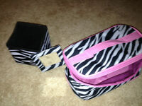 Zebra print Jewlery and/or Make up bag & cube