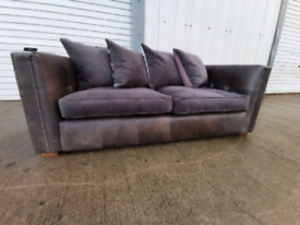 Dfs grey leather & suede 2 seater sofa couch suite 🚚