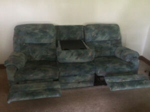 Recliner.  Sofa with reclining ends and fold down table.