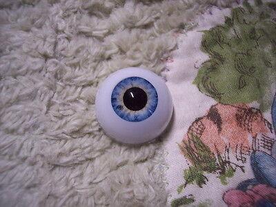 24mm Round Acrylic Deep Aqua Blue Eyes