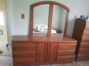 6 Piece Bedroom set, solid wood, well built, good condition ONO