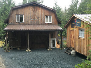 5 acres with house, cabin and outbuildings - VERY private