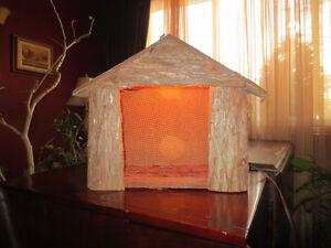 Crèche de Noel en bois  (rustique) avec éclairage