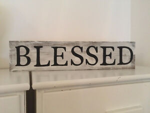 """Blessed"" Farmhouse style handmade wood sign"