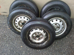 """Set of five(5) 13"""" steel rim with rubber on them"""