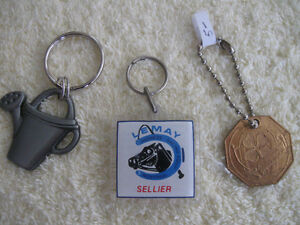 THREE UNUSUAL VINTAGE COLLECTIBLE KEY RINGS