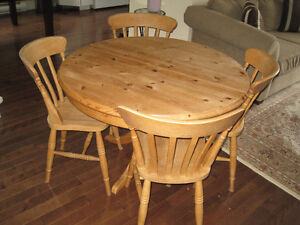 Round Pine Dining Room Table - seats 4