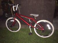 Child's red BMX bike