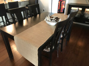Dining Room Table and Lighted Buffet