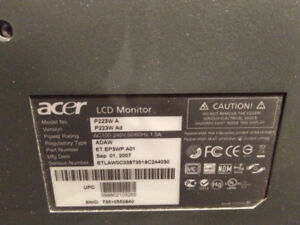 """Acer 22"""" Monitor P223W A - 60$ OBO"""