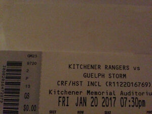 Rangers vs Storm 01.20.17 pair of tickets
