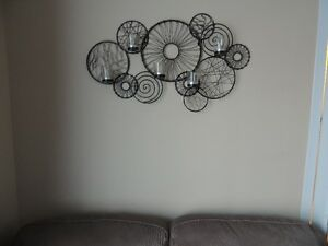 """Wall Art with 5 Candles glass cups.  32: Wide, 19"""" High"""