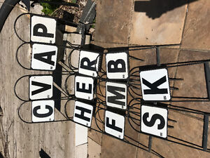 12 Dressage letter markers with metal stands